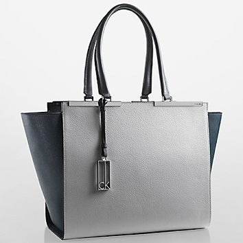 clea colorblock textured leather shopper tote | Calvin Klein