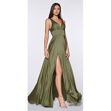 Cinderella Divine 7469 Sexy Long Prom Dress Olive Green Evening Satin Gown