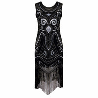 Women Black 1920s Vintage Gatsby Flapper Dress Art Nouveau Deco Sequin Beaded Fringe Fancy Costumes Summer Party Dress Vestido