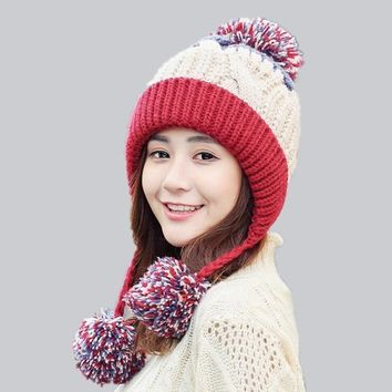 db6ec1613ec oZyc Girl Warm Ski Big Fur pom poms ball Knitted hats Winter wom