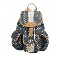 Polka Dot Lace Canvas Backpack