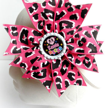 Karate Rocks Hair Bow, Girls Karate Hair Bow, Boutique Hairbow Headband, Cheetah Hair Bow, Boutique Hair Bow