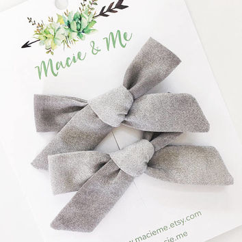 Grey Ombre Pigtail Bows | The Cora Bow