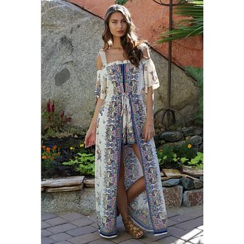 2018 Spring Women's Cream Off The Shoulder Floral Maxi Romper With Surplus the New Misses Line