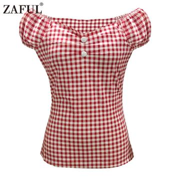 zaful women vintage tops summer shrink fold short sleeve elegant style button ladies shirt tops Blusas Chemise Femme Retro Top