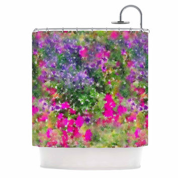 "Carolyn Greifeld ""Water Florals"" Pink Green Shower Curtain"