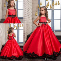 2017 Red Cute Flower Girl Dresses Beaded Sequins Bow Black Lace Appliques A-line Girl's Pageant Dress First Communion Gowns F46