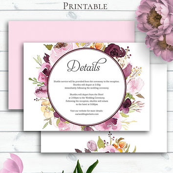 Boho Wedding Detail Card Template, Enclosure Card, Wedding Insert Card, Wedding Info Card, Wedding Details, Floral Wedding Card, Marsala