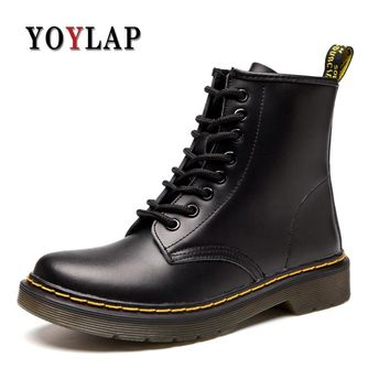 Winter Boots Men Black Leather Boots Doc Dr Martins Shoes Mens Big Size 35-46 Dr. Martens Boots Zapatos Rock Army Boots Military