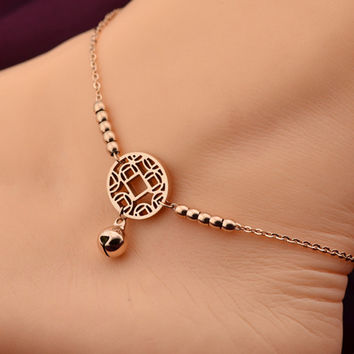 Little Bell Anklet Bracelet Rose Gold Titanium Steel Lover Fashion Foot Chain Jewelry
