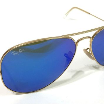 Mens RAY BAN RB 3025 Blue Mirror Pilot Large Aviator Gold Sunglasses Frames