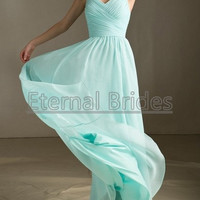 Tiffany Blue Bridesmaid Dress V neckline with Straps chiffon ruched floor length bridesmaid dress