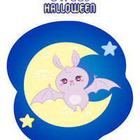 """Halloween Nursery Instant Download Printable art cute sweet girl candy bat  in the night sky next to moon and stars """"Candy Bat"""""""