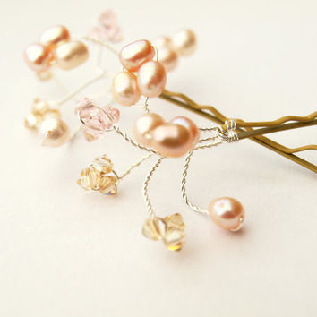 Pink Champagne Hair Pin Bridal Hair by jewellerymadebyme on Etsy