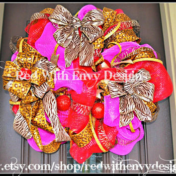 Valentine's Day Wreath, Wreath, Deco Mesh Wreath, Valentine's Day, Leopard Wreath, Leopard