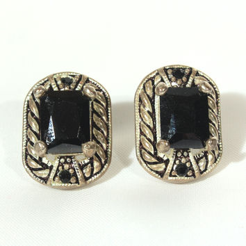 Silver Plate & Black Rhinestone Earrings