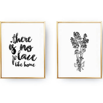 Set Of 2 Prints, Lavender Poster, Bedroom Poster, Real Gold Foil Print, There Is No Place Like Home Print, Typography Wall Art, Home Decor