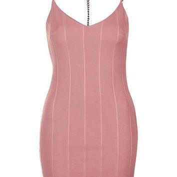 Plunge Chain Strap Bandage Dress