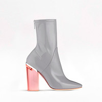 ANKLE BOOT GREY PATENT CALFSKIN