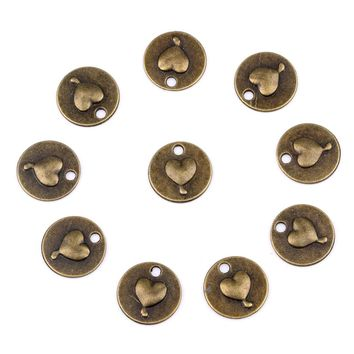 20 Pieces Hearts Love Powers Circle Lucky Charms Finding for Jewelry Pendants Necklace Making 15mm
