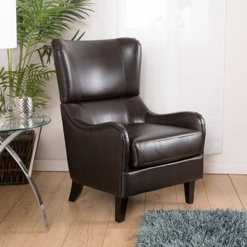Ellery Brown Leather Club Chair