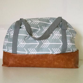 Weekender in Gray Arrow and Faux Leather Bottom - Diaper Bag - Oversized Bag - Travel