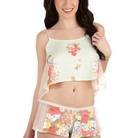 ModCloth Vintage Inspired Short Spaghetti Straps Cropped Girly Night In Sleep Top