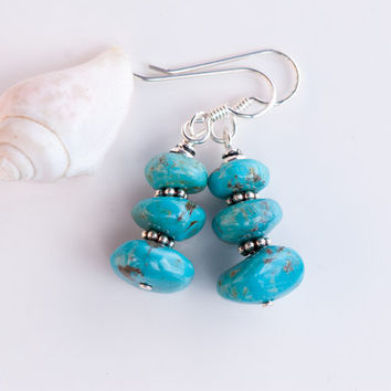 Rustic Turquoise Earrings, Cairn Stacked Real Turquoise, Natural Stone Earrings, Turquoise and Silver Earrings, December Birthstone Earrings