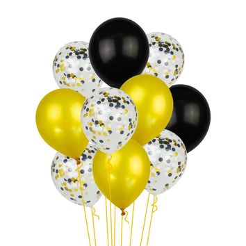 BLACK GOLD BALLOONS-Black and Silver Balloons Bouquet, Black Gold Confetti Balloons, Graduation Balloons, Father's Birthday Balloons