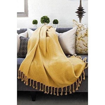 Ben and Jonah Sophia Throw Blanket With Fringe Twists (Gold/Honey)