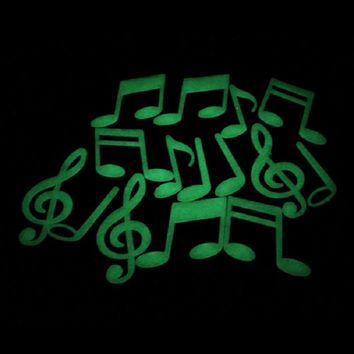 Mosunx Business Music Notes Glow In The Dark Luminous Fluorescent Home Wall Stickers Decal