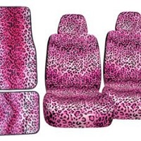 11pc Pink Leopard Safari Low Back Seat Covers Steering Wheel Cover Shoulder Pads and Carpet Floor Mats