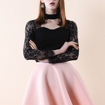 Sweetheart Black Top with Lace Sleeves