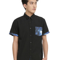 XXX RUDE Black & Galaxy Print Short-Sleeved Woven
