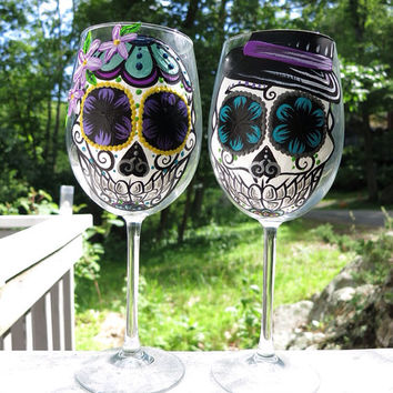 Hand painted sugar skull couple wine glass set