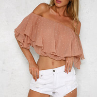 Numero Uno Crop Top Beige