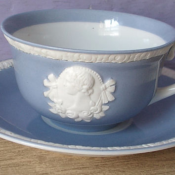 RARE Antique 1920's Czechoslovakia porcelain tea cup and saucer, white cameo tea cup set, blue and white tea set, antique tea cup set,