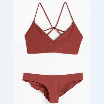 Hot Red Two Piece Back Sexy Design Swimwear Bathsuit Swimsuit Polyline Two Piece Bikini