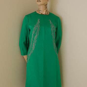 Genuine 60s 70s Home Made Green Dress With Appliqué