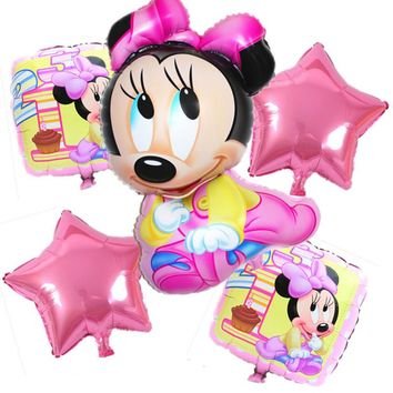 5pcs/lot Minnie Mickey Mouse Foil Balloons Kids 1 Year mickey mouse Birthday Party Decor baby shower helium Balloon classic toys