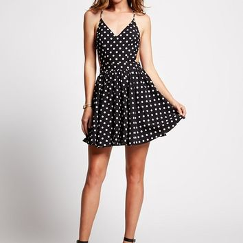 Printed Open-Back Fit-and-Flare Dress | GUESS.com