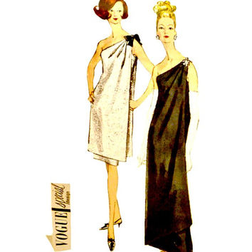 60s One Shoulder Evening Dress Gown Vogue Pattern 6596 Draped Overdress Special Design with Label Size 12 Bust 32 Vintage Sewing Patterns