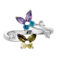 Sterling Silver Rhodium Plated Butterflies Colored CZ By Pass Style Adjustable Toe Ring