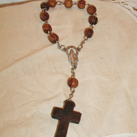 Wood Pocket Rosary Brown Wooden Religious Decorative Car Accessories