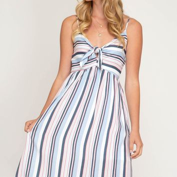 Women's Multi Striped Cami Midi Dress with Front Tie Detail
