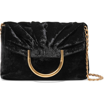 Stella McCartney - Nina small velvet and faux leather clutch