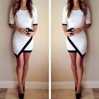 Slim Half Sleeve Patchwork Bodycon Mini Dress