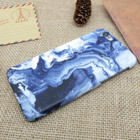 Unique tie-dyed blue marble stone mobile phone case for iphone 5 5s SE 6 6s 6 plus 6s plus + Nice gift box 072301