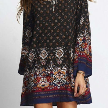 Women's Bohemian Vintage Floral Printed Ethnic Style Loose Casual Dress