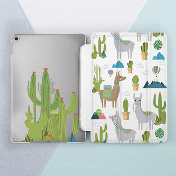 Cute Llama & Cactus around iPad case iPad pro 10 5 case iPad pro 12 9 case iPad mini case iPad 5th gen case iPad mini 4 case iPad air 2 case